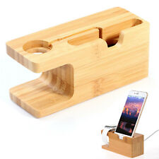 Bamboo Charging Stand Mount Holder Dock For Apple Watch iPhone X 5 6 6s 7 8