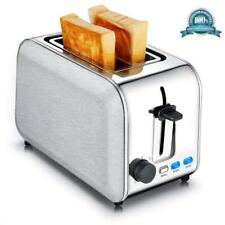 Silver Electric 2 Slice Toaster Stainless Steel Bread Browning Sets Wide Slots