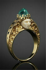 Creative King Human Face 18K Yellow Gold Filled Emerald Ring Gift Party Jewelry