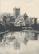 BEAUTIFUL ALBUMEN PHOTO OF WELLS CATHEDRAL W/ REFLECTION IN POND - WELLS, UK