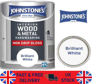 Johnstone's 306533 Non Drip Gloss Paint  Brilliant White wood metal 750ml