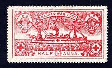 Rare India Half Anna Red Madras War Fund Stamp