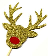 Gold Glitter Rudolf the Red Nose Reindeer Christmas / Xmas Cake topper