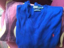 POLO Ralph Lauren jumper, size XXL, bright blue, v neck, 100% prima cotton.VGC.
