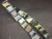 """6.5"""" LONG NATURAL LABRADORITE OCTAGON FACETED DRILLED 9X14-10X14 MM STRANDS"""