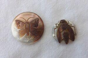 TWO VINTAGE MOTHER OF PEARL MOP BUTTON HEAVILY CARVED INSECTS 3-2.5CMS (1288)