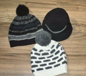 Boys winter hats lot of 3, black, gray, white
