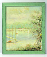 River Scene Boats Forest 16 x 20 Oil Painting on Canvas w/ Custom Made Frame