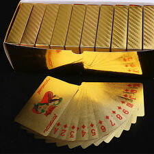 24K Gold Foil Plated Waterproof Game Poker Grid Pattern Playing Cards