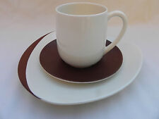 Carlton Ware ORBIT RETRO TRIO CUP SAUCER & PLATE .Brown & Ivory.(D)