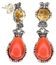Carolyn Pollack Carnelian & Honey Citrine Sterling Silver Drop Dangle Earrings