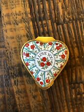 "Halcyon Days Heart-shaped ""I Love You"" porcelain enamel box"