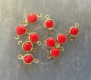 Vintage Gold Plate Swar Crystal Opaque Red Crystal Round Charm Drops Connectors