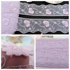 """2""""*1Y Embroidered Floral Tulle Lace Trim~3D Raised~Sweet Lilac~Cute Spirits~RARE"""