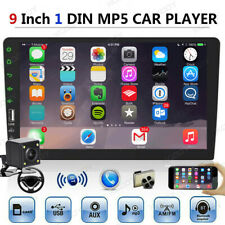 "9"" 1 Din Car MP5 Player Stereo Bluetooth Mirror Link Head Units + Backup Camera"