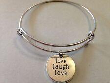 Live Laugh Love Bracelet Charm Bangle SILVER Inspiration Message Positive Faith