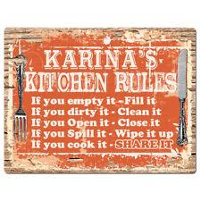 PPKR0780 KARINA'S KITCHEN RULES Chic Sign Funny Kitchen Decor Birthday Gift