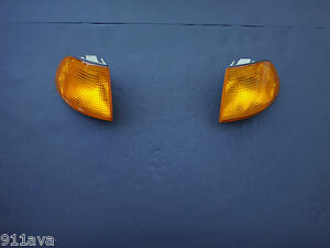 BMW 750 iL 740i 740 IL FRONT RIGHT & LEFT YELLOW OEM TURN LIGHTS USED GOOD COND