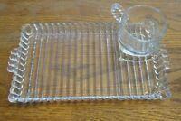 Hazel Atlas Clear Glass Sip Snack Smoke Tray & Cup Ball & Ribbed Design Pattern