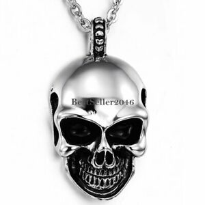 Mens Gothic Punk Skull Chain Silver Tone Stainless Steel Pendant Necklace Chain