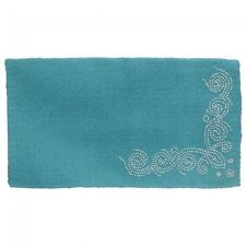 "Tough-1 Wool Saddle Blanket with Designer Dots - Turquoise - 34""x38"""