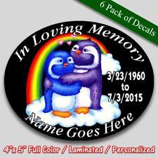 In Loving Memory vinyl decal full color Rainbow Penguins theme Memorial sticker