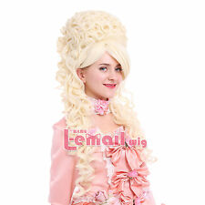 Marie Antoinette Victorian Baroque Lady Beige Long Wave Fancy Cosplay Wig ZY34A