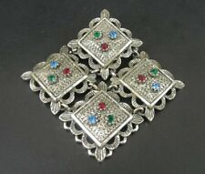 Sarah Coventry Brooch Vintage Multi Color Stones Silver Plate Brooch Pin