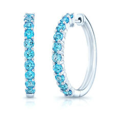 14K White Gold Swiss Blue Topaz Hoop Earrings Natural Round Cut 2.40 CT 1""