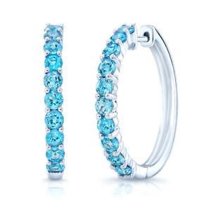"14K White Gold Swiss Blue Topaz Hoop Earrings Natural Round Cut 2.40 CT 1"""