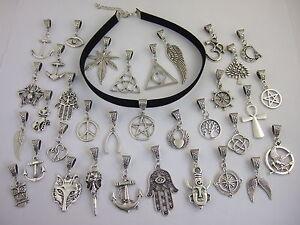 "Black 10mm Flat Suede Cord Tibetan Silver Charm 13"" Choker Necklace Pagan Gothic"