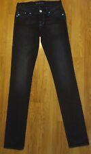 ROCK & REPUBLIC Black Skinny Fit 'Berlin' Jeans w Blue Stitch & Rivets 25-26L