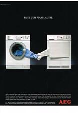 PUBLICITE ADVERTISING  2004   AEG   machine à laver séche linge