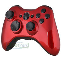 Full Housing Glossy Red With Black Buttons For Xbox 360 Controller Shell