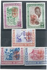 GUINEA , UN , WORLD AGAINST MALARIA ,  SET OF 5 O.P. IN ORANGE , PERF , VLH