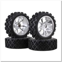 4 x RC1:10 On Road Car Silver Aluminium 10 Spoke Wheel Rim + Flower Rubber Tyre