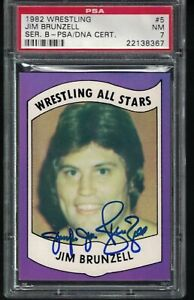1982 Wrestling All Stars Card Jumping JIM BRUNZELL AUTOGRAPHED PSA DNA nice card