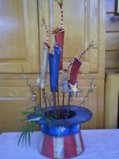 "4th of July Hat With Rockets Metal Heigth 25.5"" One Of A Kind"