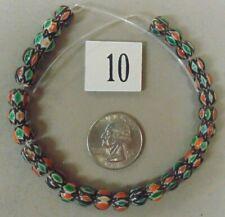 29 PIECE 4 LAYER GREEN/ORANGE/BROWN/WHITE CHEVRON GLASS LOOSE BEAD STRAND #10B