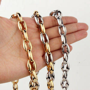 """7-40"""" 316L Stainless Steel Hollow Out Coffee Beads Bean Chain Neklace Men Women"""