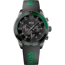 HUGO BOSS MEN'S GREEN LOGO BLACK SILICONE BLACK DIAL MULTI EYE  WATCH 1512847