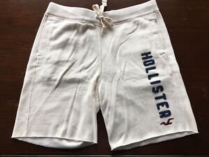 Hollister Fleece Gym Shorts XL Ivory Drawstring Spellout Appliqués Mens Discolor