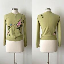 Subtle Luxury embroidered cashmere cardigan, sz. S/M