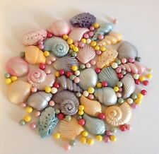 28 SUGAR Shells edible sugarpaste  cake decorations Cupcake  toppers