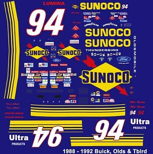 #94 Terry Labonte Sunoco Olds 1988-92 1/24th Scale Nascar Waterslide Decals
