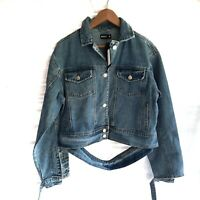 Momokrom  Womens cropped denim jacket Size L (14-16) Heavy weight NEW