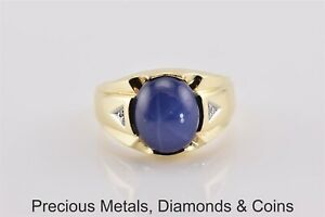 10k Yellow Gold Solid Oval Blue Star Sapphire Diamond Fluted Band Ring Sz: 9