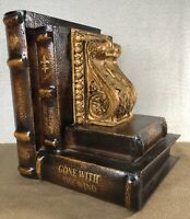 """Wooden Stacked Books Bookend - Gone With The Wind - For Study Or Office - 8.5"""""""