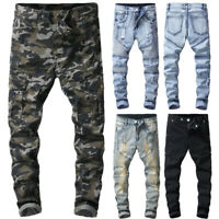 Men Stretchy Pant Skinny jeans Denim Pant Long Trouser Casual Pant Frayed Jeans