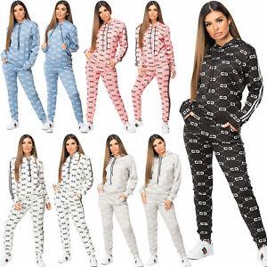 Womens Designer Inspired CC Print 2 Pcs Joggers Loungewear Tracksuit Co Ord Set